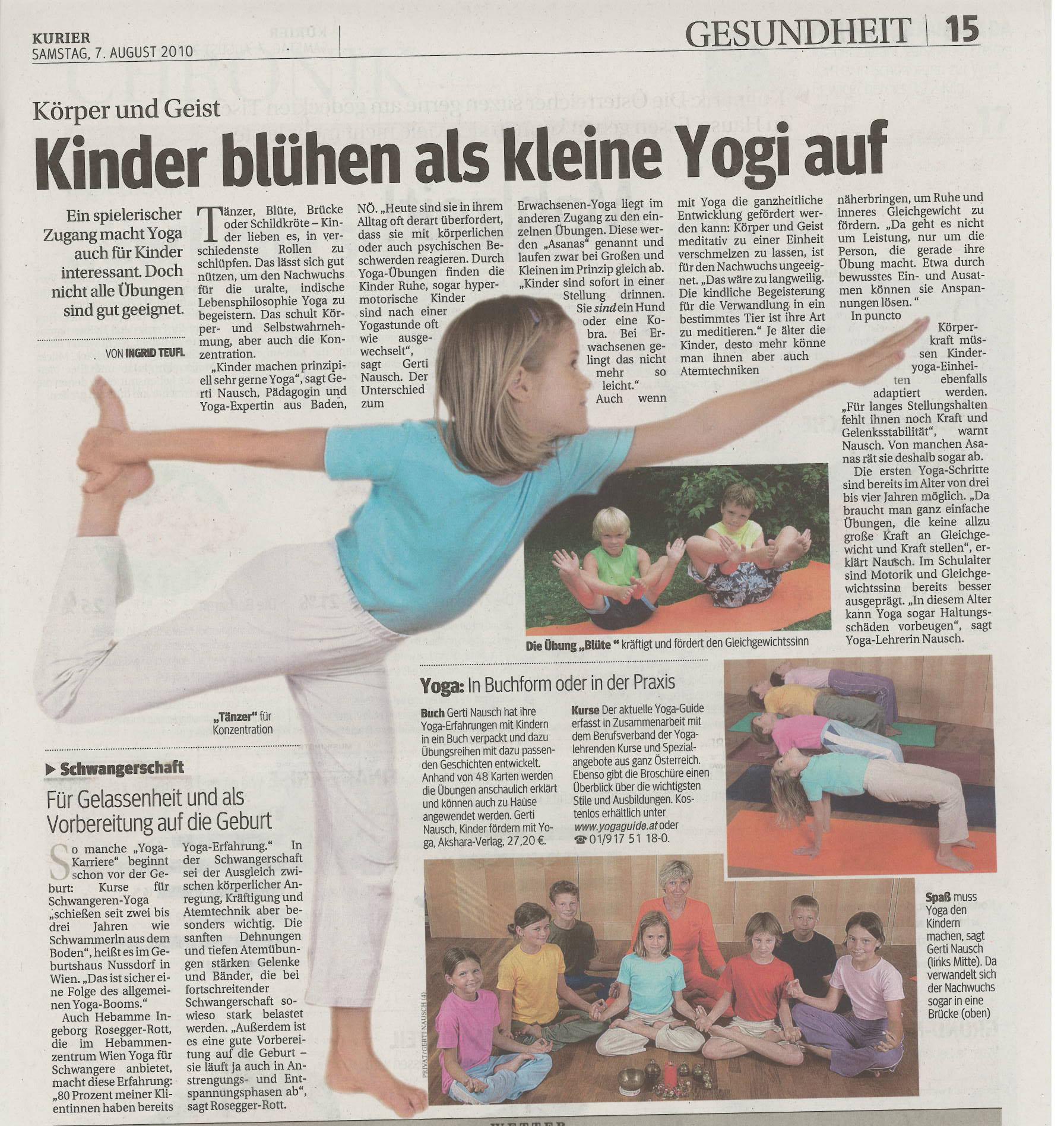 Good werben kinder blühen als kleine yogi auf kurier 7 august 2010